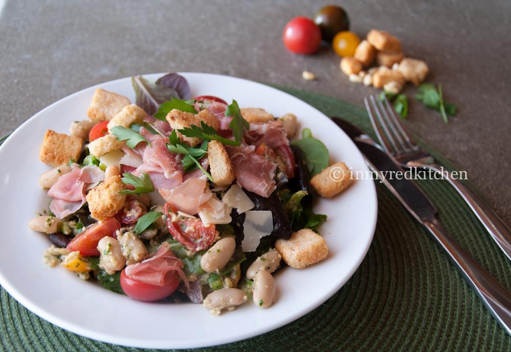 Bean and prosciutto salad