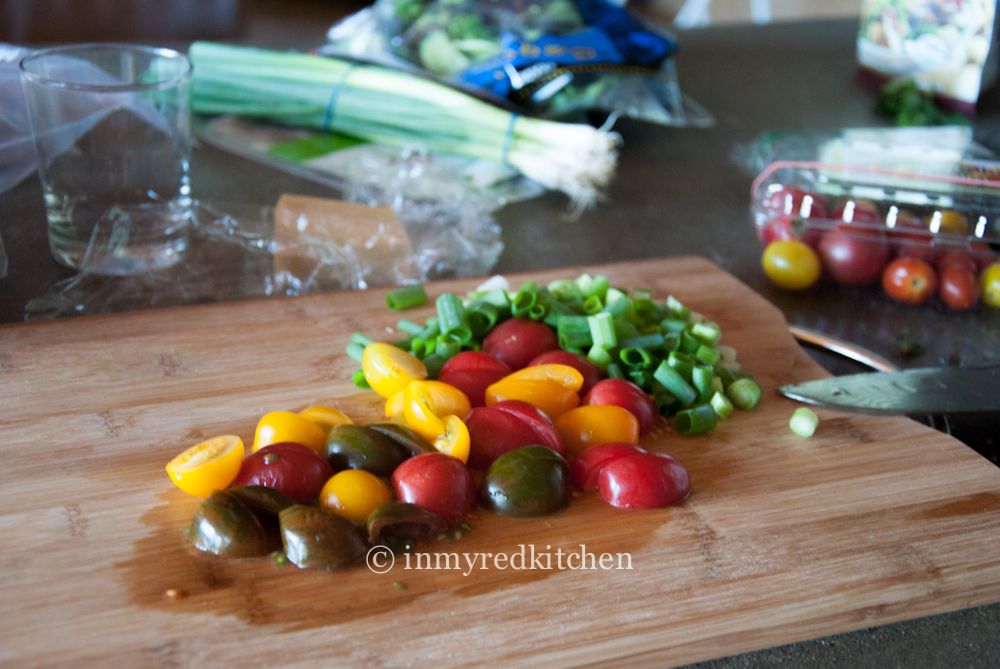 Delicious mini heirloom tomatoes for this salad