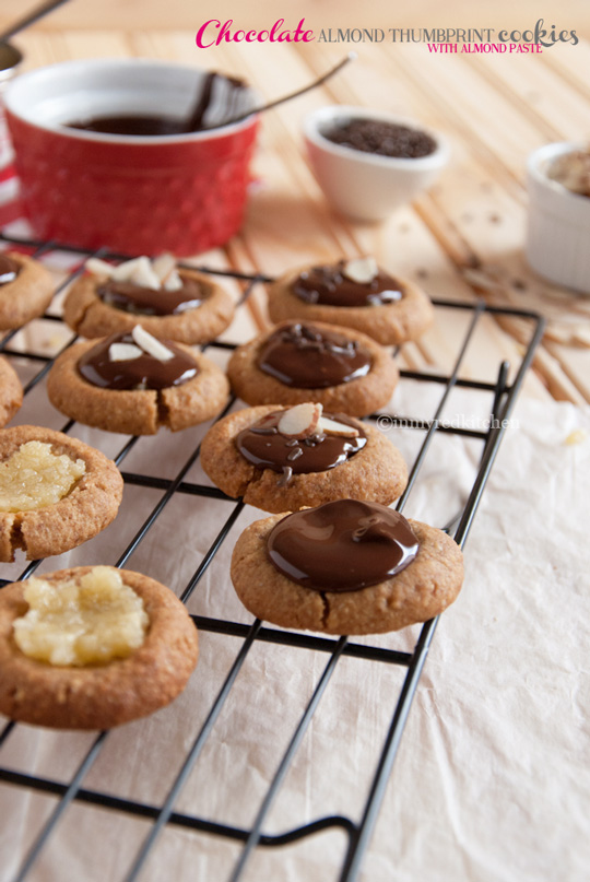 Chocolate almond thumbprint cookies with almond paste. Perfect for Valentines! | in my Red Kitchen