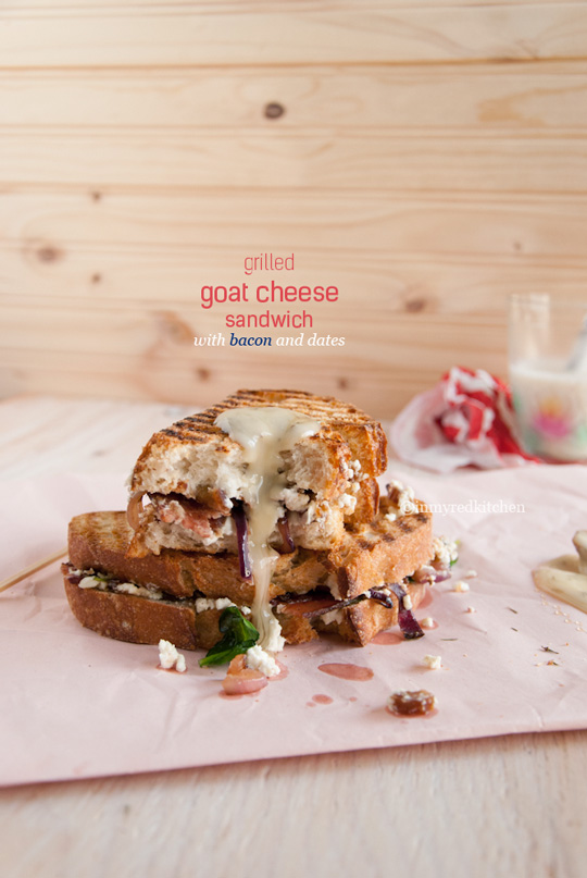Grilled goat cheese sandwich with bacon and dates - it's a scrumptious sandwich! | in my Red Kitchen