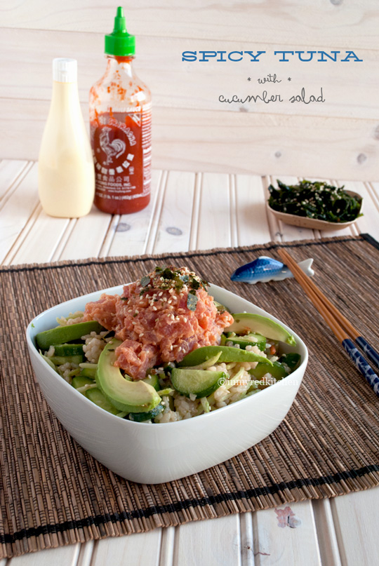 Spicy tuna and cucumber salad | in my Red Kitchen