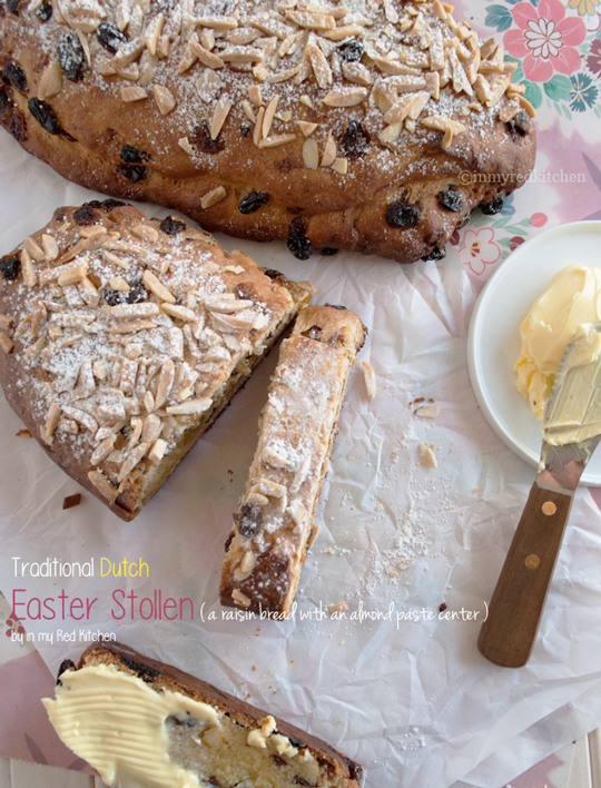 Traditional Dutch Easter bread with raisins and almond paste | in my Red Kitchen