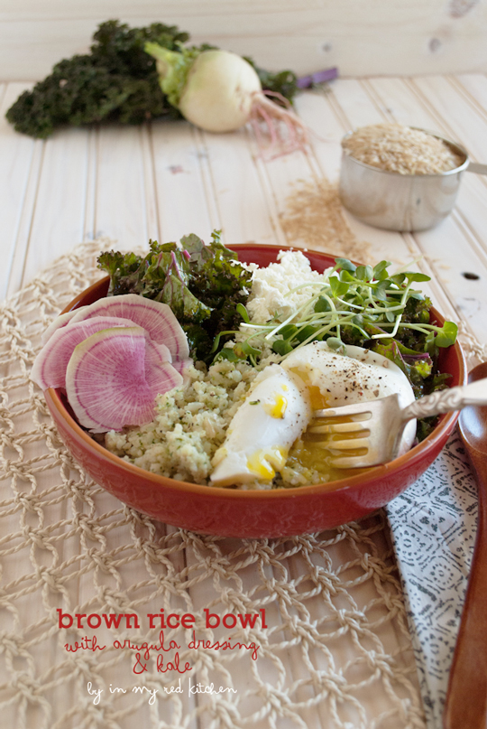 Brown rice bowl with kale and a poached egg | in my Red Kitchen