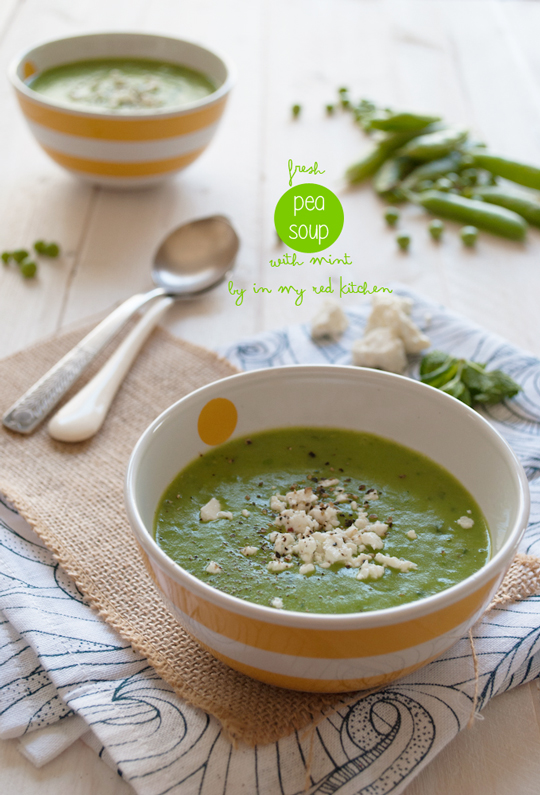 Fresh pea soup with mint, the best soup for Spring! | in my Red Kitchen