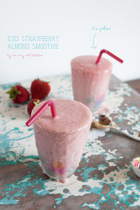 iced strawberry almond smoothie| in my Red Kitchen