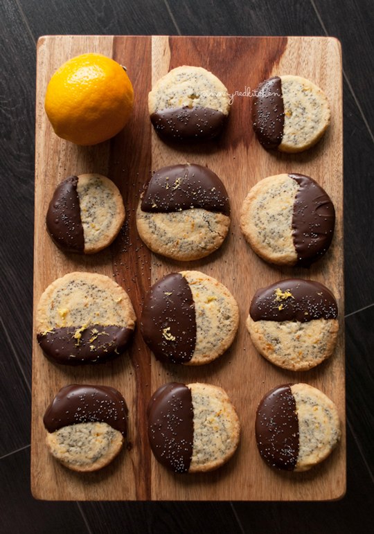 Meyer lemon poppy seed cookies with chocolate