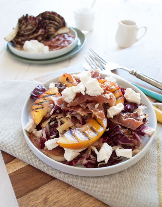 Grilled radicchio salad with prosciutto and nectarines -