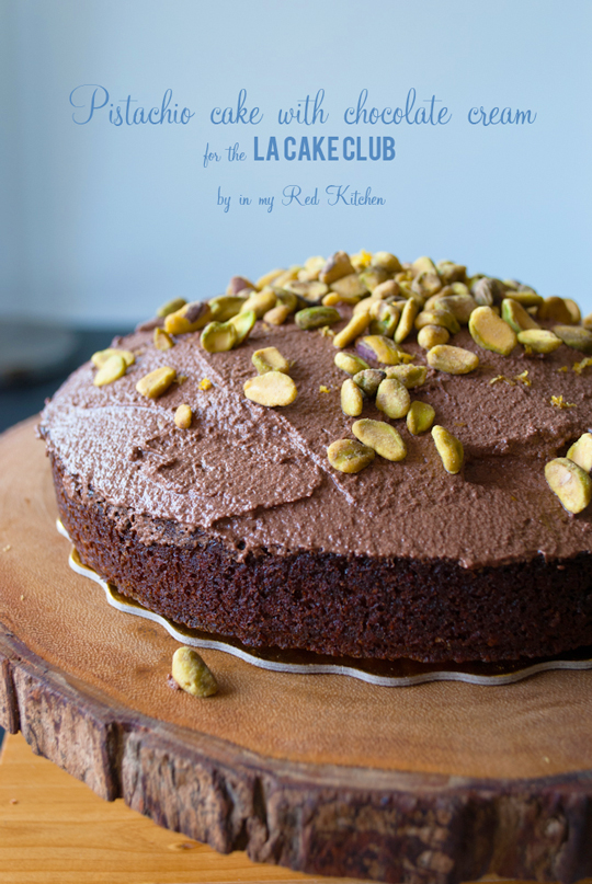 Pistachio cake with chocolate cream for the #LACakeClub   in my Red Kitchen #pistachios #cake #chocolate #losangeles