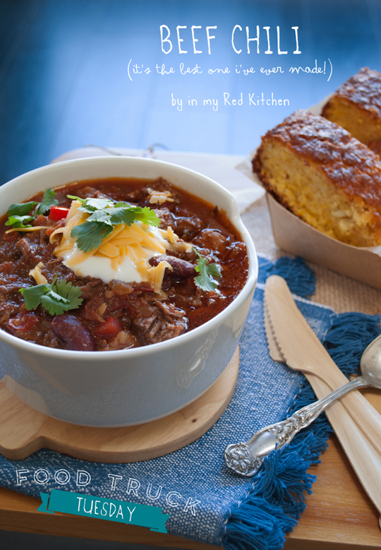 Beef chili from Jamie Oliver | in my Red Kitchen #foodtruck #foodtrucktuesday #jamieoliver #beefchili #chili