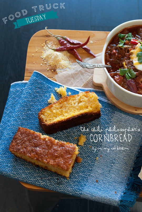 Cornbread recipe from the one and only Chili Philosopher | in my Red Kitchen #foodtrucktuesday #foodtruck #cornbread #corn #bread