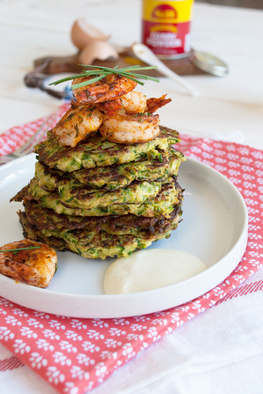 Curried zucchini fritters with spicy shrimp
