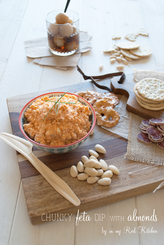 Chunky feta dip with almonds | in my Red Kitchen #glutenfree #snack #feta #recipe