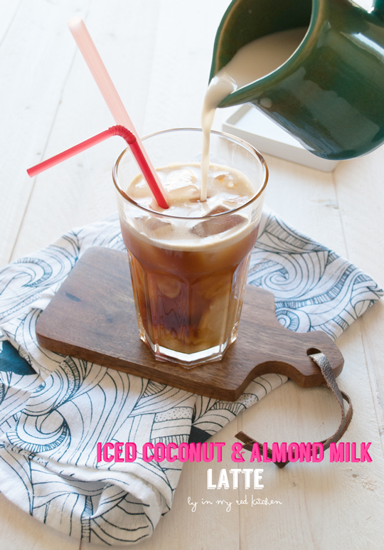 Iced coconut and almond milk latte, with a subtle sweetness of the coconut milk | in my Red Kitchen #coconut #almond #latte #coffee #drink