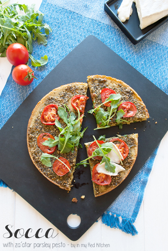 Socca with za'atar parsley pesto | in my Red Kitchen #glutenfree #pizza #chickpeas #socca