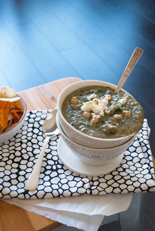 soup made with two of my favorites: chickpeas and spinach! And I ...
