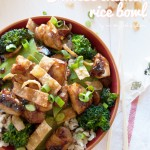 Chinese chicken & rice bowl; quick, easy and full of flavor! | in my Red Kitchen #chiciken #chinesechicken #chicken #hoisin #recipe #rice #stirfry #foodtruck #FoodTruckTuesday