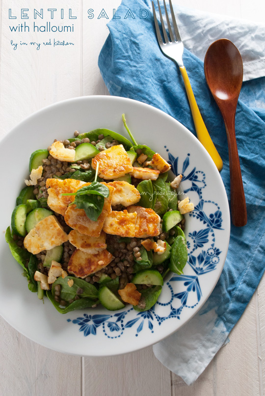 Lentil salad with halloumi | in my Red Kitchen #salad #halloumi #cheese