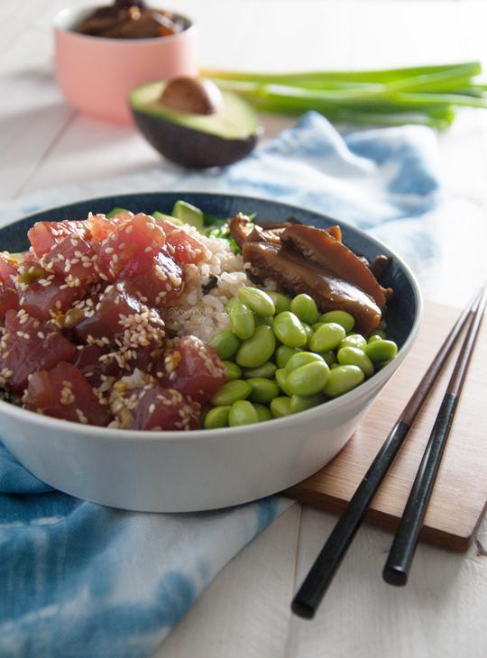 Tuna poke bowl with pickled shiitakes