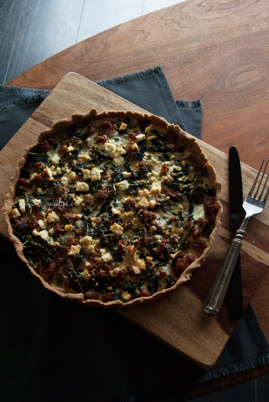 Kale and sausage quiche